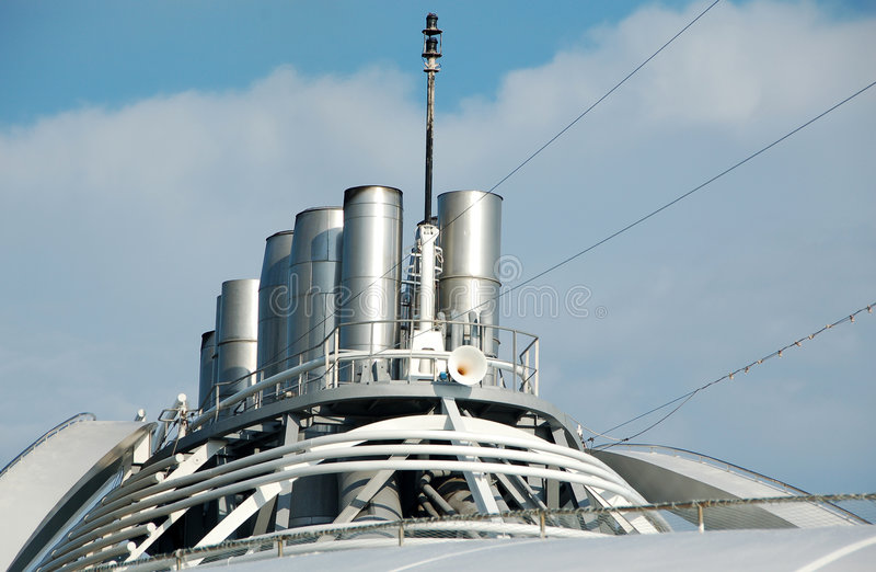Smoke stack on ocean liner stock photography
