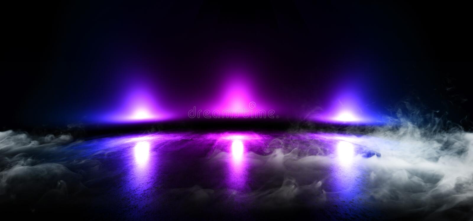 Smoke Stage Futuristic Blue Purple Neon Glow Sci Fi  VIbrant Dark Showcase Podium Virtual Reality Empty Reflection Grunge Concrete. Laser 3D Rendering stock illustration