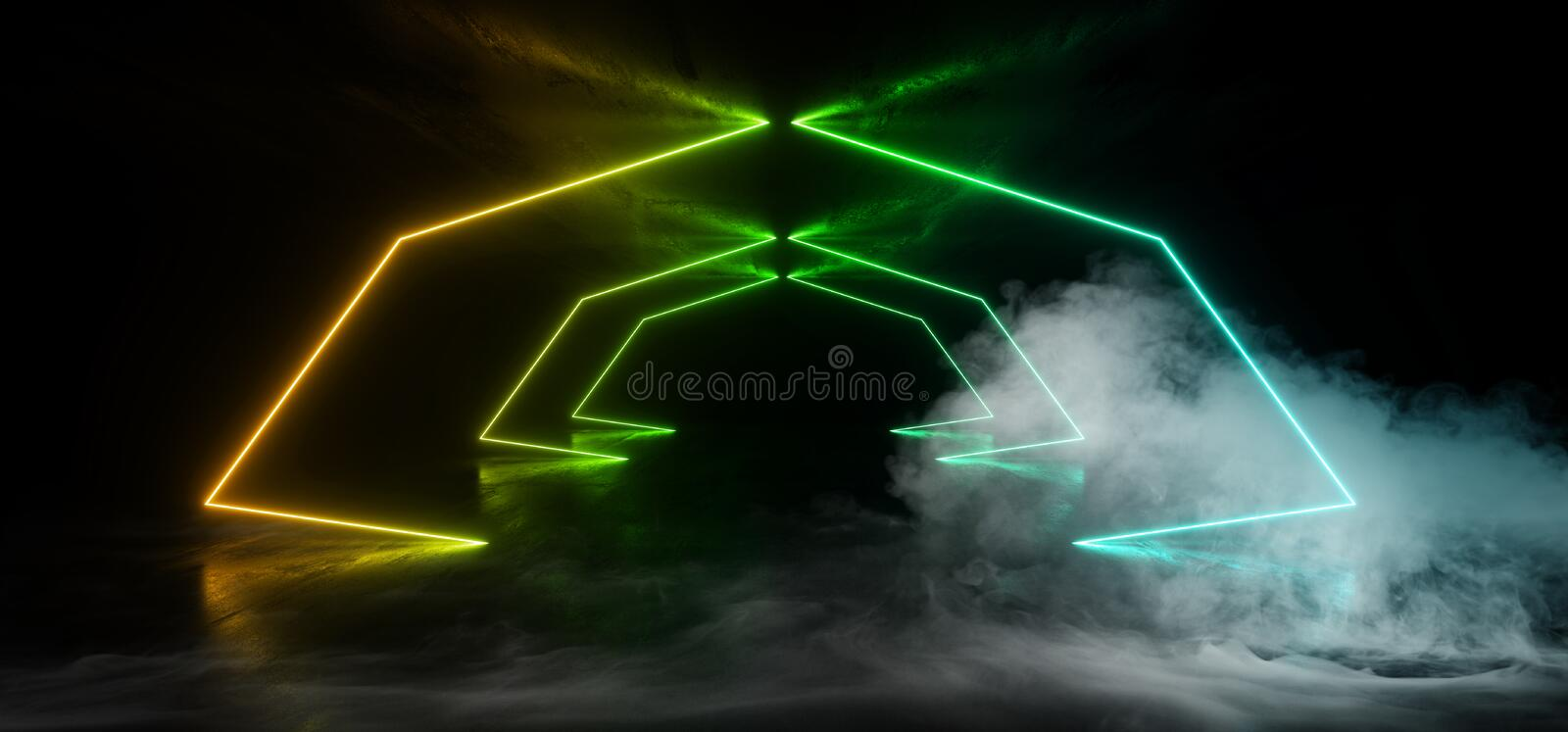 Smoke Stage Neon Construction Laser Show Glowing Blue Green Orange Lights Vibrant Reflective Dark Concrete Grunge Underground Club stock illustration