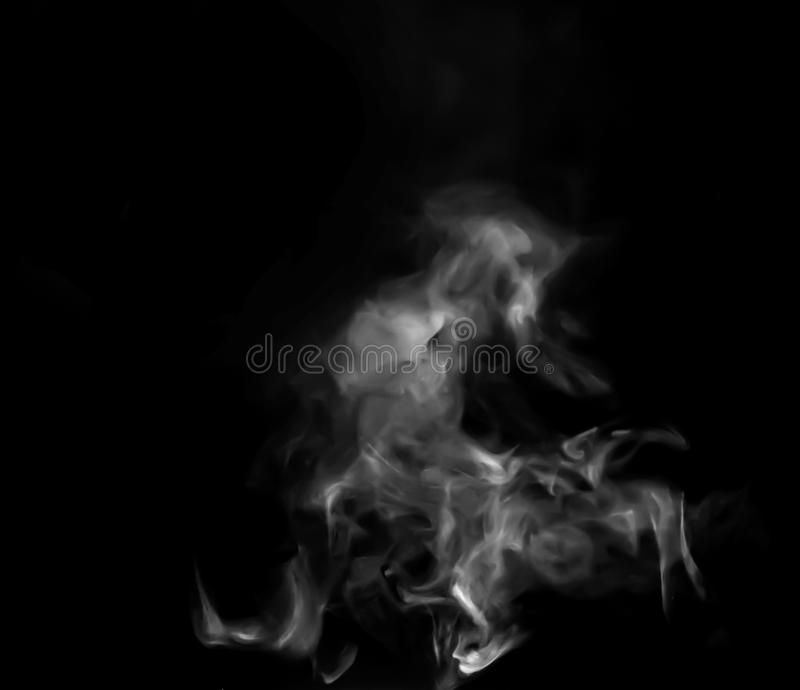 Smoke steam on black background stock images