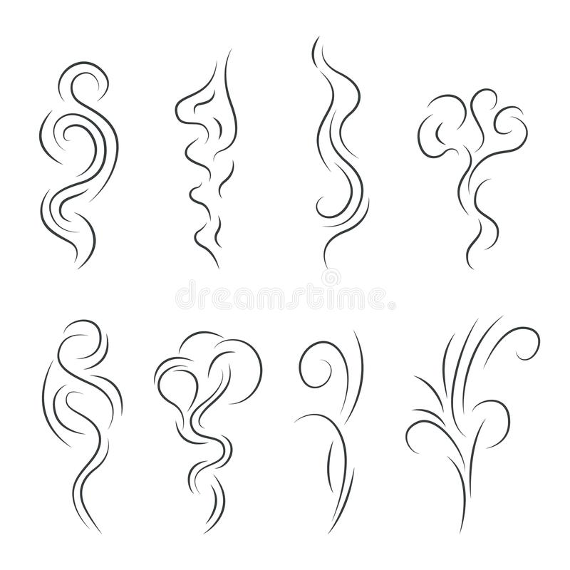Free Smoke Steam Vapor Signs Black Thin Line Icon Set. Vector Royalty Free Stock Photography - 103777067