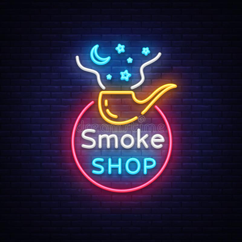 Tobacco Shop Logo Vector. Cigarettes Shop Night Bright