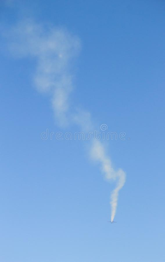 Smoke Trail from Jet Plane stock photography