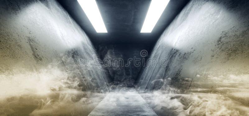 Smoke Triangle Shaped Grunge Concrete Sci Fi Futuristic Neon Blue White Elegant Empty Dark Reflective Big Hall Scene Alien Ship stock illustration