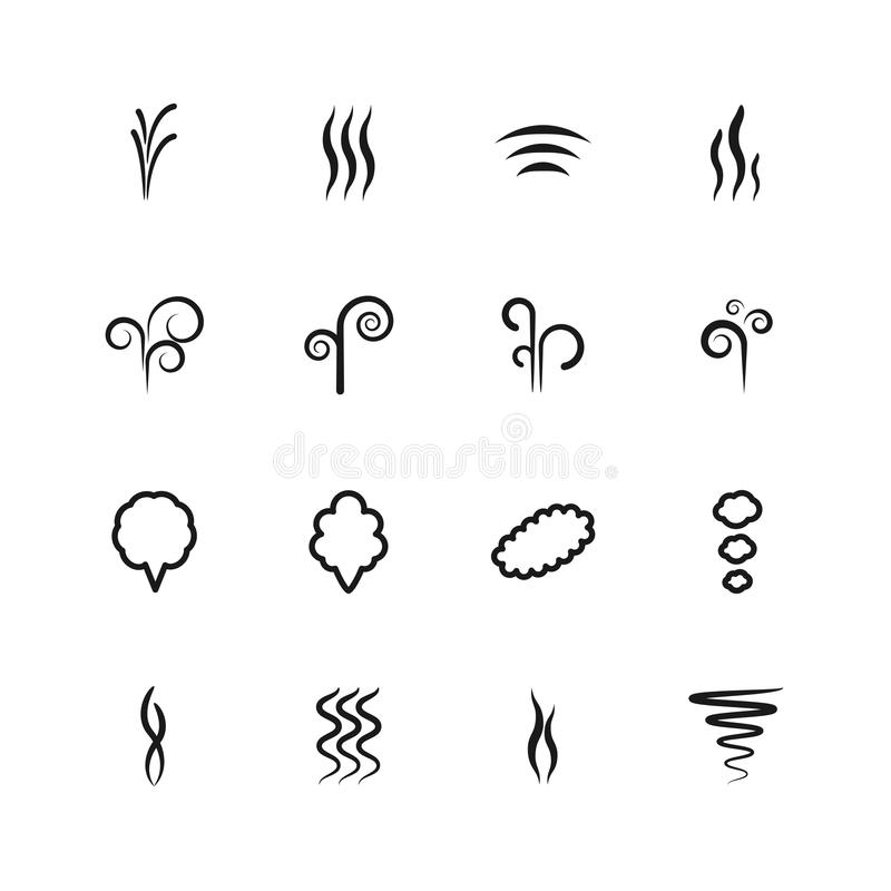 Smoke vector icons set vector illustration