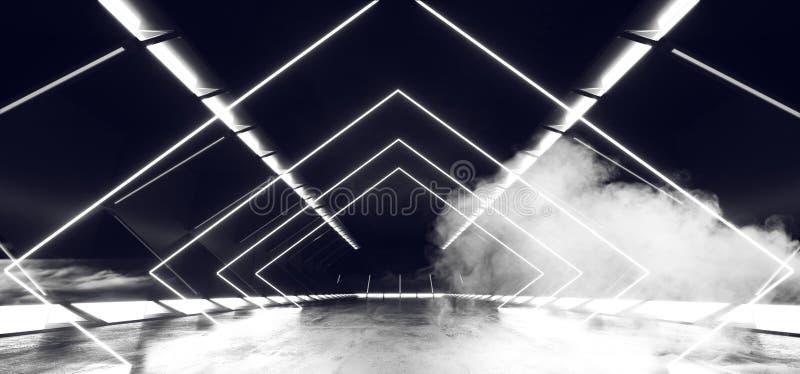 Smoke Virtual Reality Neon Glowing White Sci Fi Futuristic Modern Retro Alien Spaceship Corridor Tunnel Fluorescent Lasers Led. Lights On Concrete Floor vector illustration