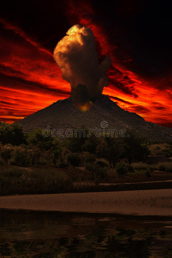 Smoke on volcano. Illustration of volcano eruption against a dark sky at sunset