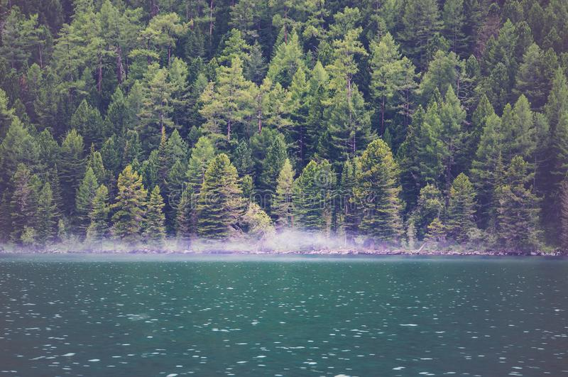 View on crystal clear lake with mist and reflection on the water. royalty free stock image