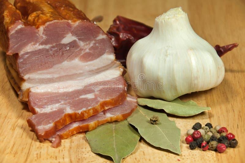 Smoked bacon royalty free stock photography