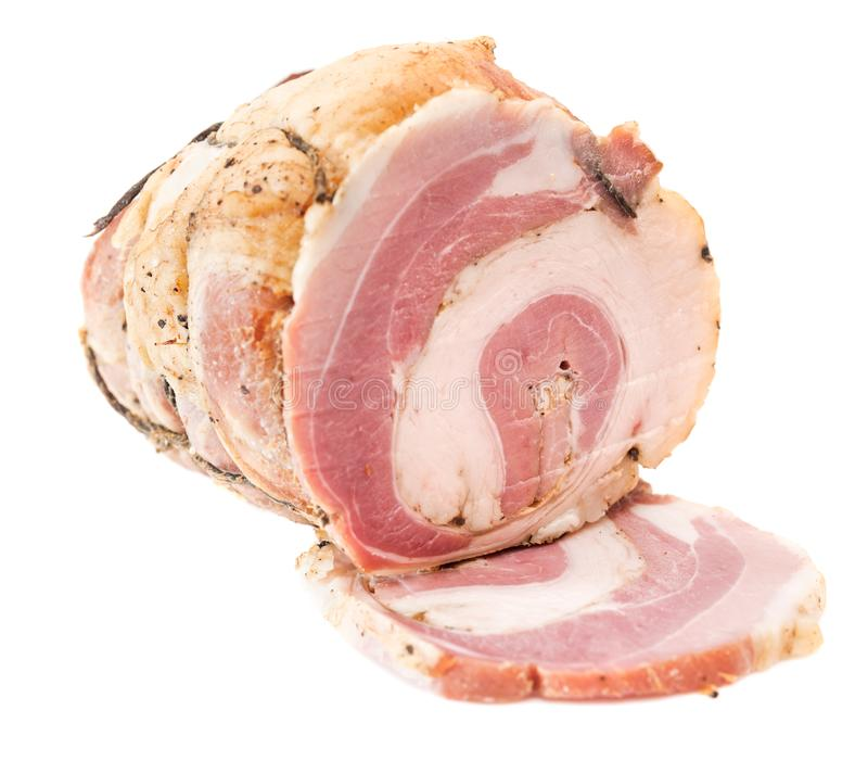 Smoked bacon isolated on white background. Cured, smoked bacon, lard isolated on white background. Raw rolled bacon royalty free stock photography