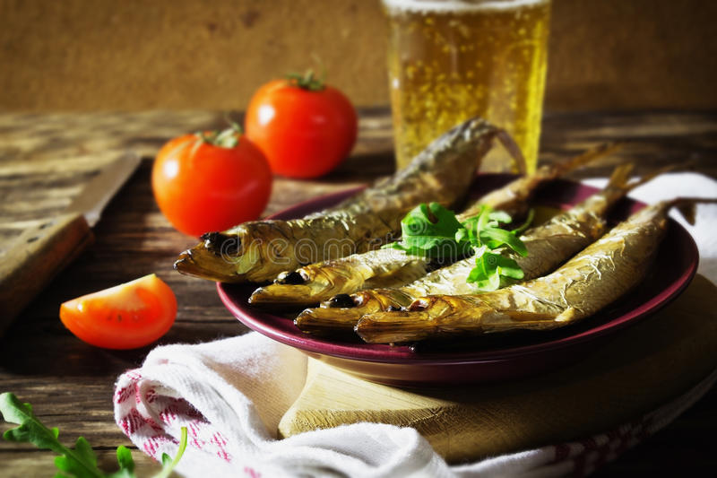 Smoked baltic herring stock photography