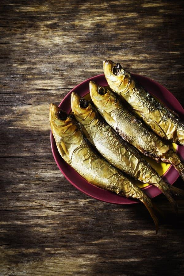 Smoked baltic herring stock images