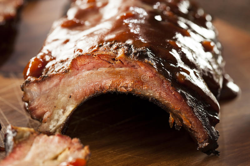 Smoked Barbecue Pork Spare Ribs royalty free stock photos