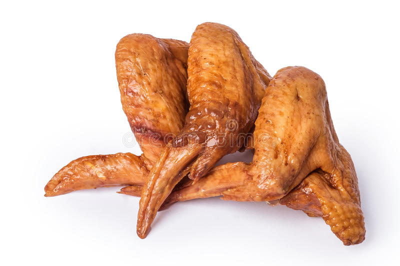 Smoked chicken wings and legs stock photos