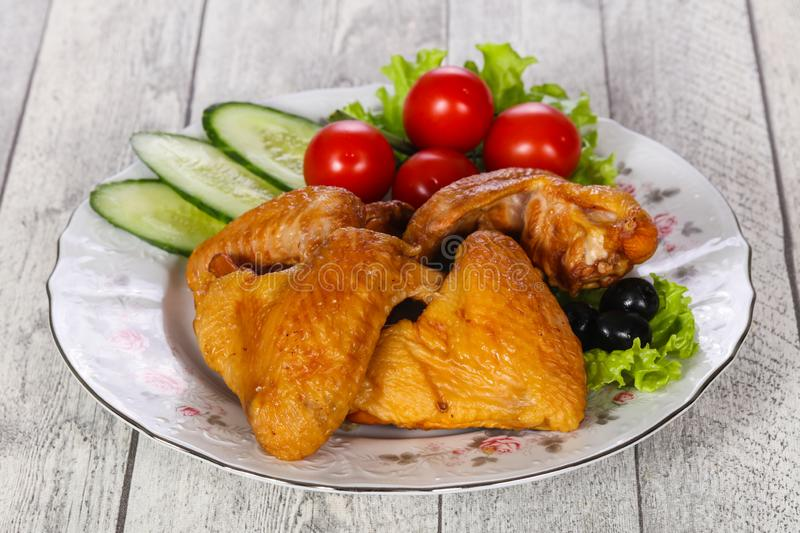 Smoked Chicken wings stock images