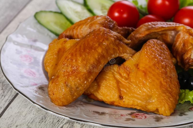 Smoked Chicken wings royalty free stock photography