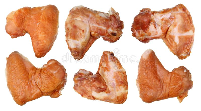 Smoked fatty and fragrant chicken wings set. Isolated stock images