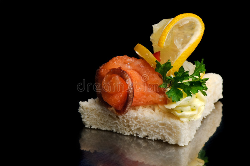 Download Smoked fish canape stock image. Image of green, black - 7175093