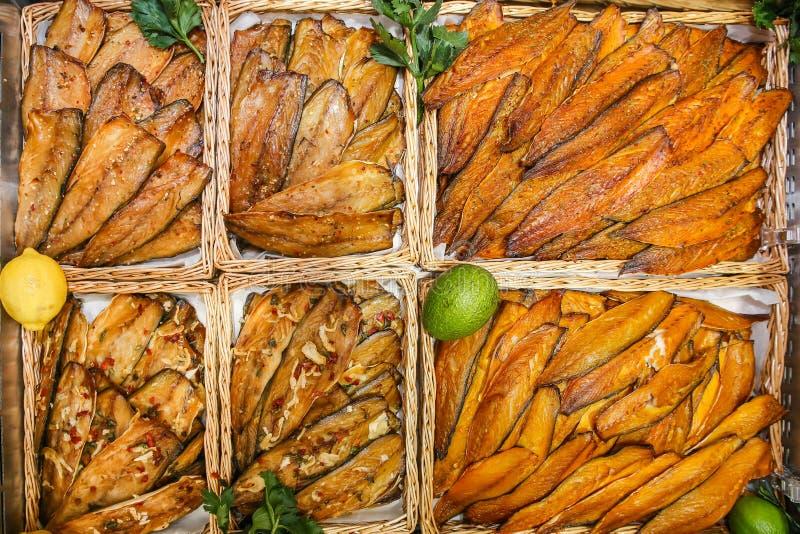 smoked fish mixed royalty free stock image