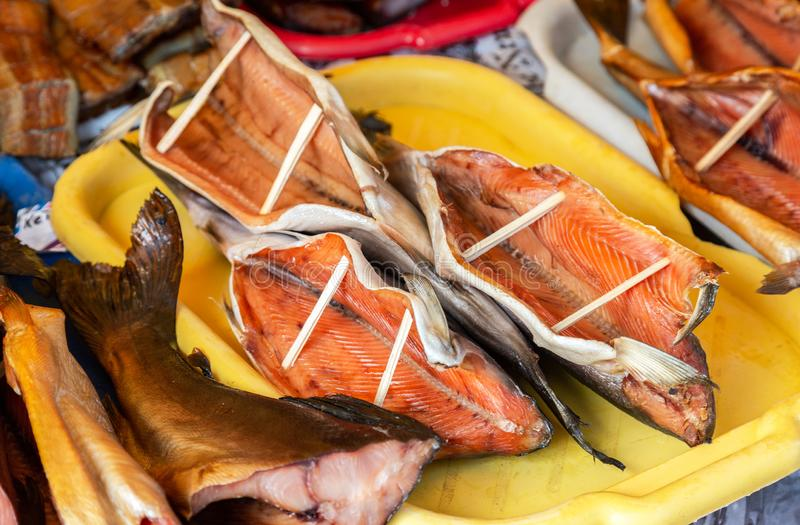 Smoked fish ready to sale at the farmers market royalty free stock images