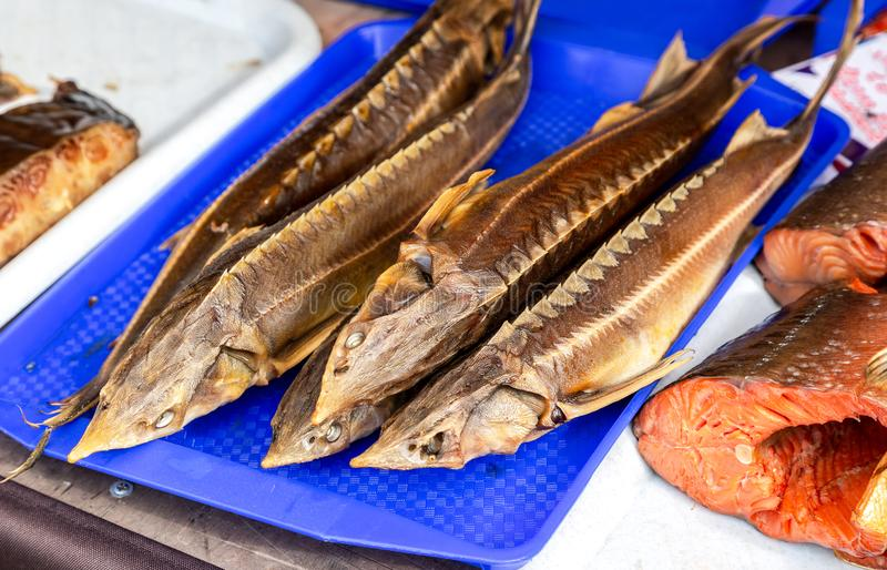 Smoked fish sterlet ready to sale at the farmers market stock photos