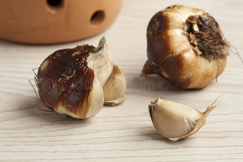 Smoked garlic bulbs. Fresh smoked organic garlic bulbs stock photo