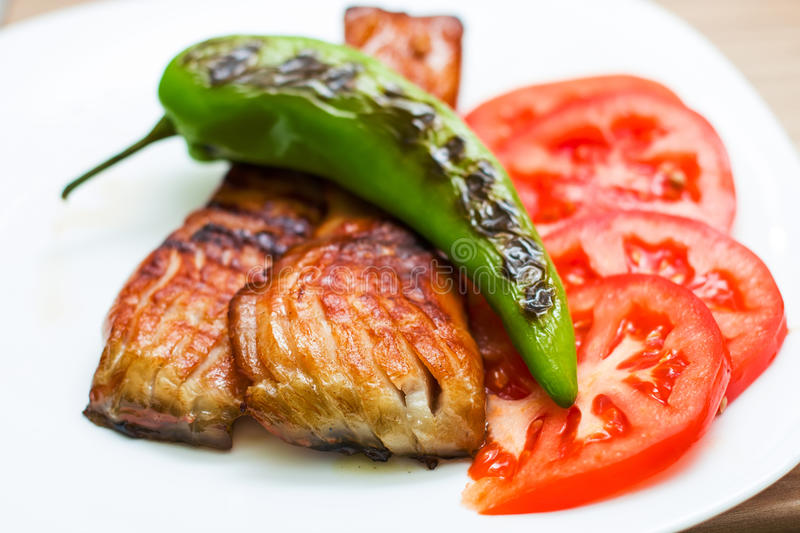 Smoked And Grilled Fish Carp royalty free stock photos