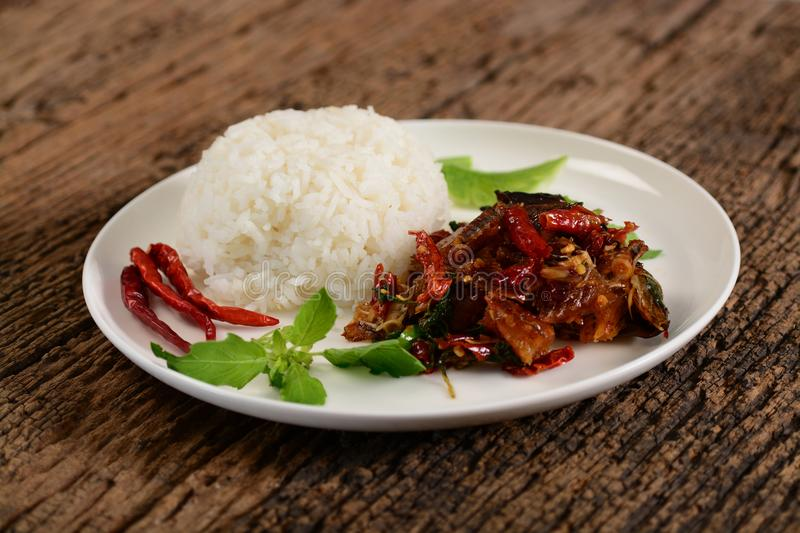 Smoked grilled fish topping on rice royalty free stock photos