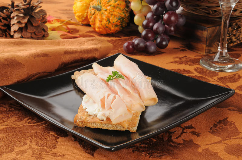 Smoked Ham And Cream Cheese On Crispbread Stock Photo