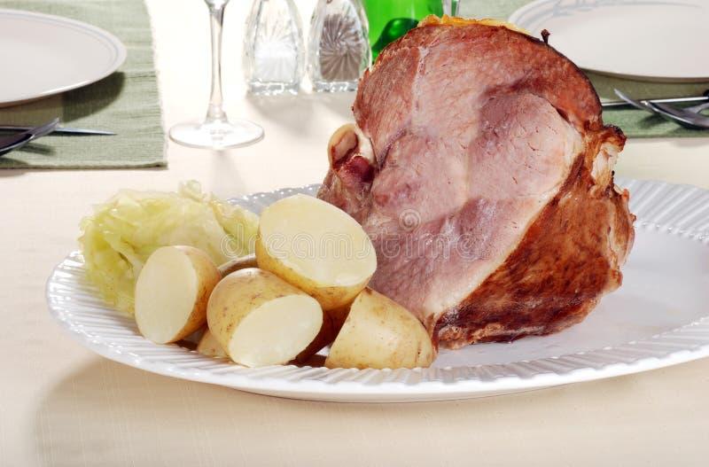 Smoked ham dinner stock photo