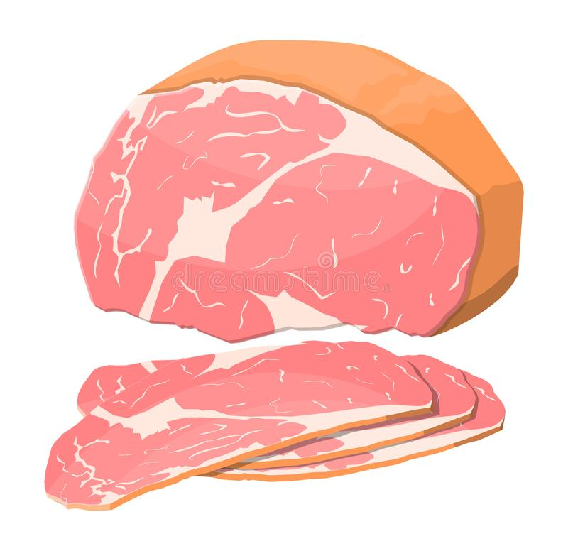 Smoked ham isolated. Piece of delicious pork bacon royalty free illustration
