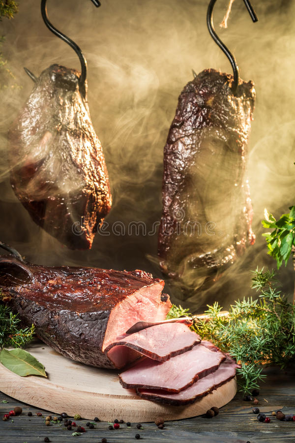 Smoked ham in a traditional rural way royalty free stock images