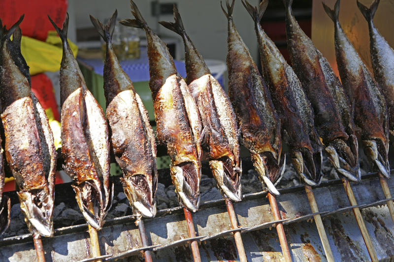 Smoked mackerel on the traditional Auer Dult in Munich. Smoked mackerel on the traditional fair Auer Dult in Munich, Bavaria, Upper Bavaria, Germany, Europe stock photos
