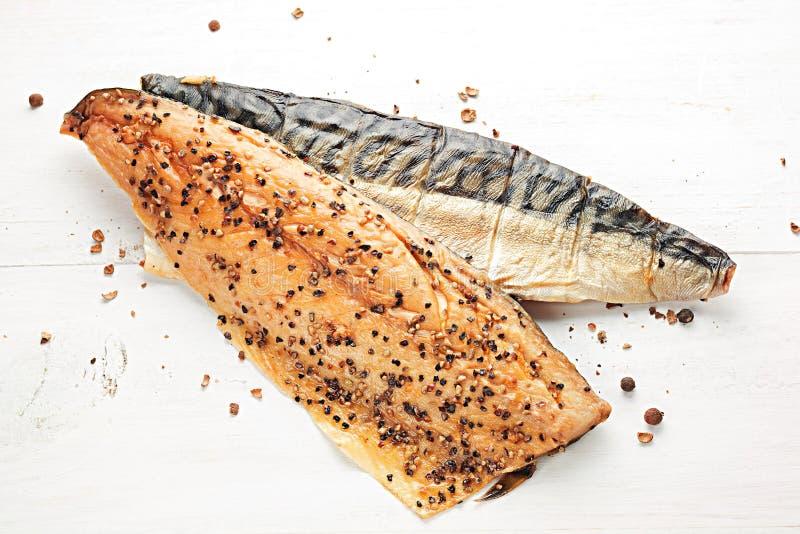 Smoked Mackerel. Traditional smoked mackerel. Well-being food stock image