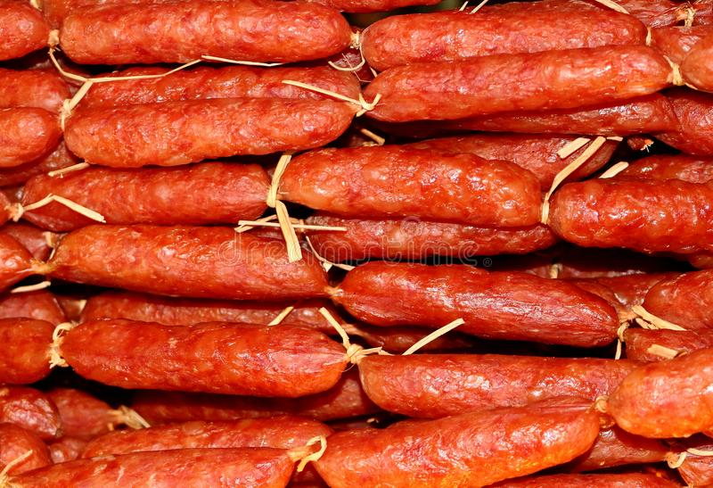 Smoked meat sausages in Cambodia royalty free stock photos