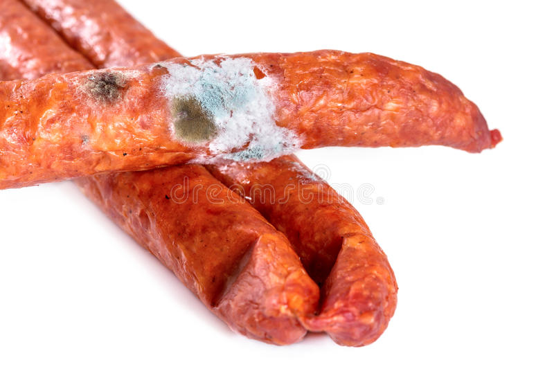 Smoked nipples covered with mold. Isolate on white background stock image