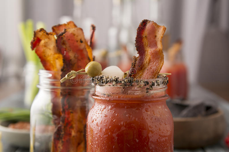 Smoked Pepper Bacon Bloody Mary royalty free stock photography