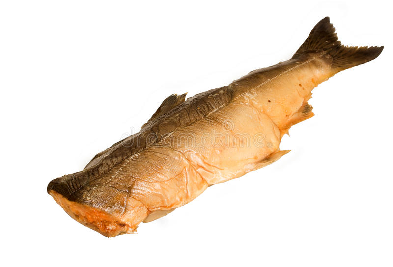 Smoked pink salmon. Beheaded fish a smoked pink salmon stock photography