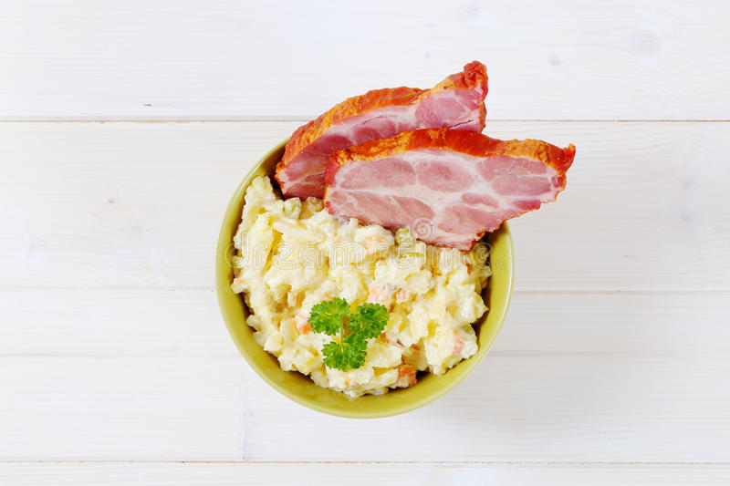 Download Smoked Pork With Potato Salad Stock Photo - Image: 83707682