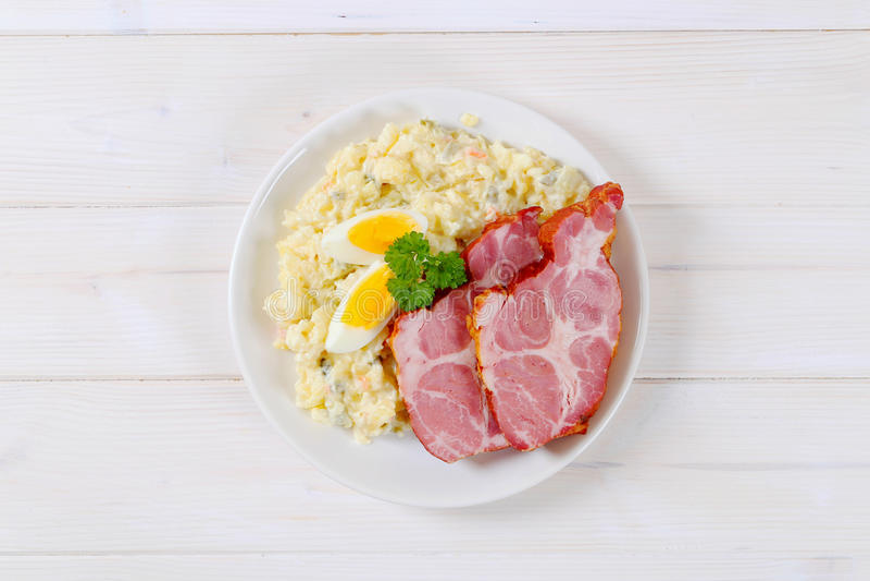 Download Smoked Pork With Potato Salad Stock Photo - Image: 83706679