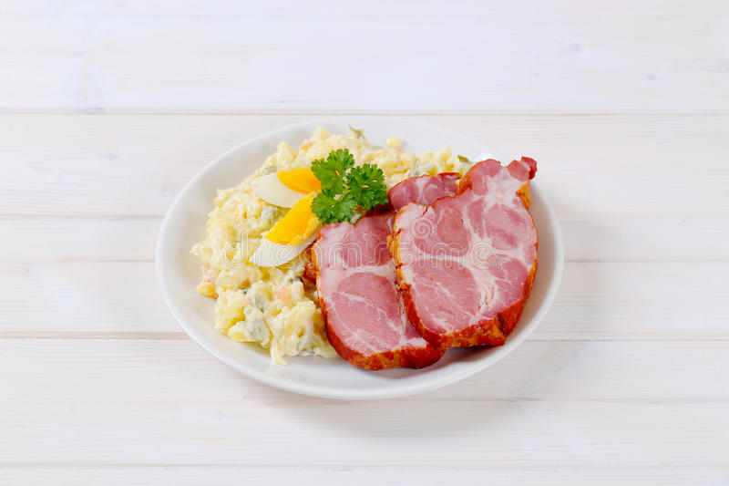 Download Smoked Pork With Potato Salad Stock Image - Image of meal, meat: 83707719
