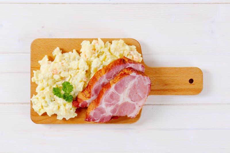 Download Smoked Pork With Potato Salad Stock Image - Image of overhead, slice: 83707711