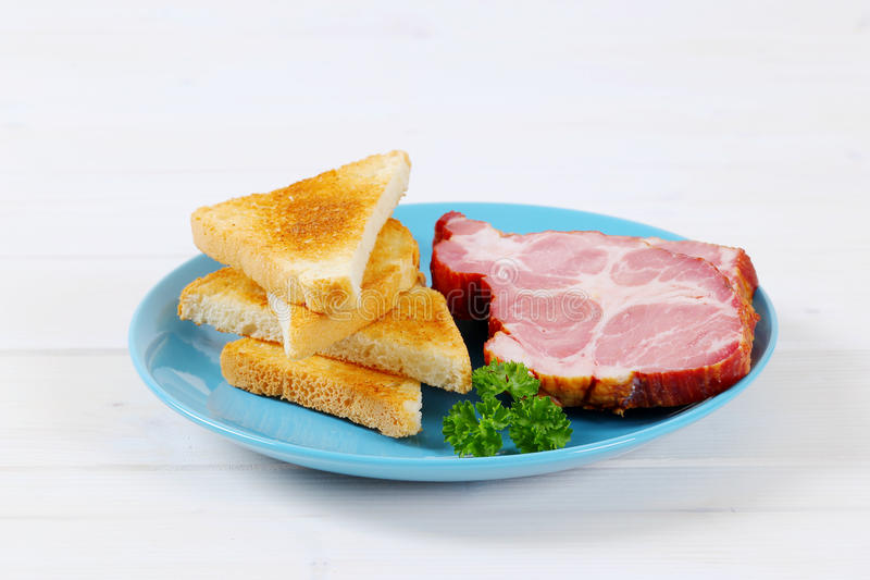 Download Smoked pork with toasts stock photo. Image of streaky - 83707754