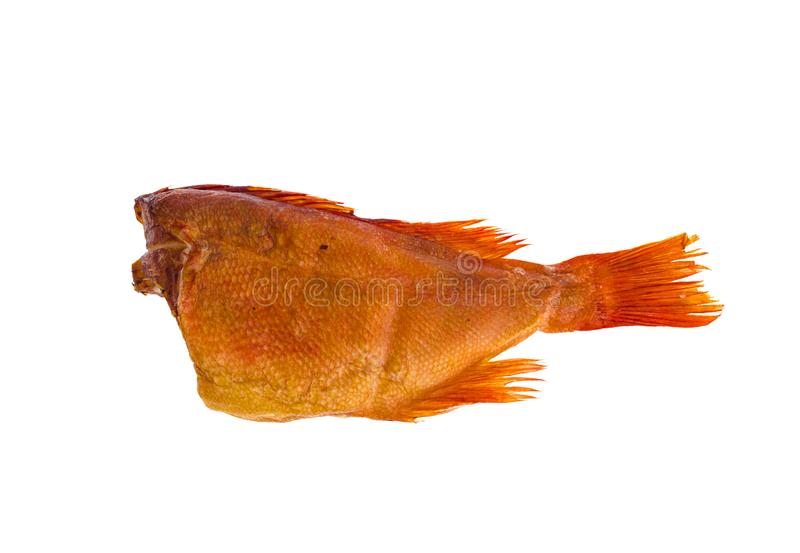 Smoked Red Sea Bass isolated on white. Studio Photo stock image