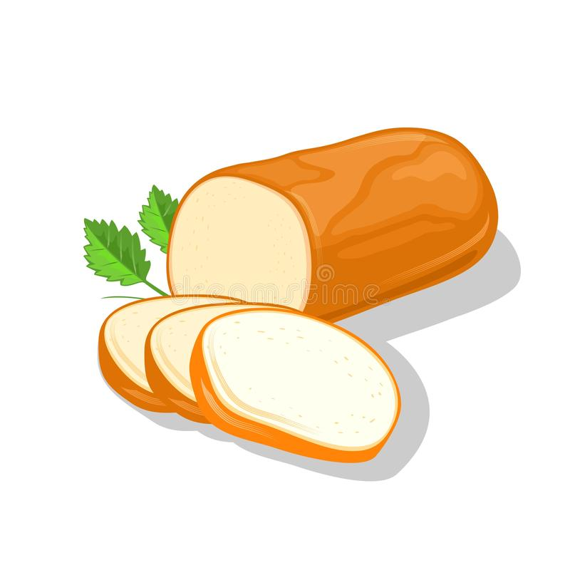 Smoked round cheese cutted to slices garnish with greenery. Ricotta, rauchkase, bavarian. Appetizing farm, dairy product stock illustration