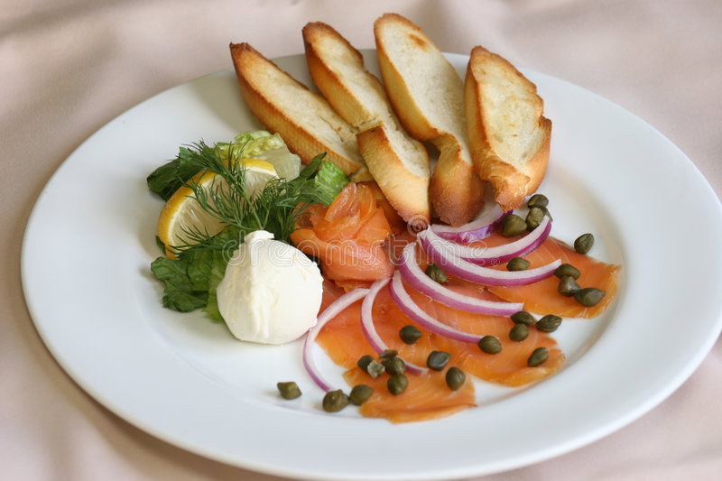 Download Smoked Salmon stock photo. Image of color, meal, toast - 613408
