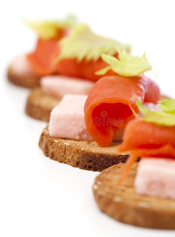 Smoked salmon appetizer. Closeup of elegant smoked salmon appetizer royalty free stock images