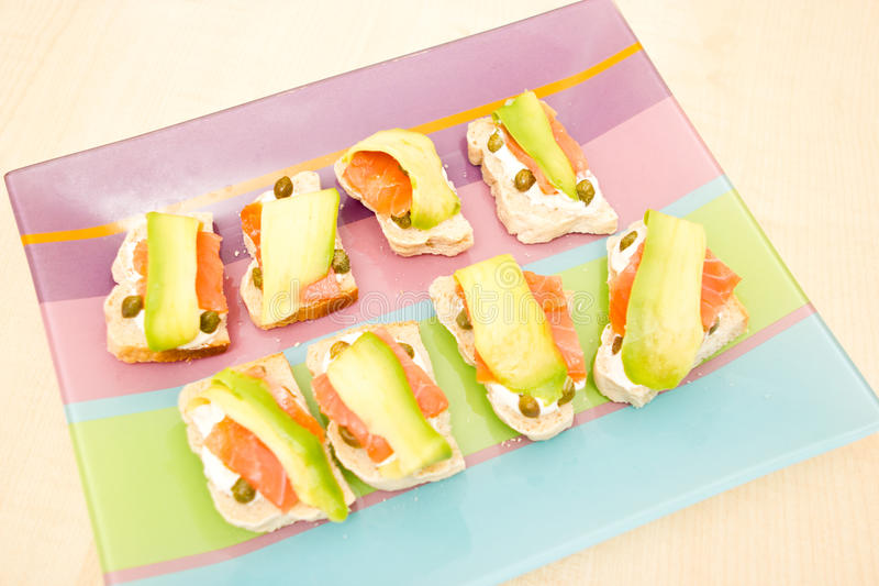 Download Smoked salmon appetizers stock photo. Image of capers - 20443286