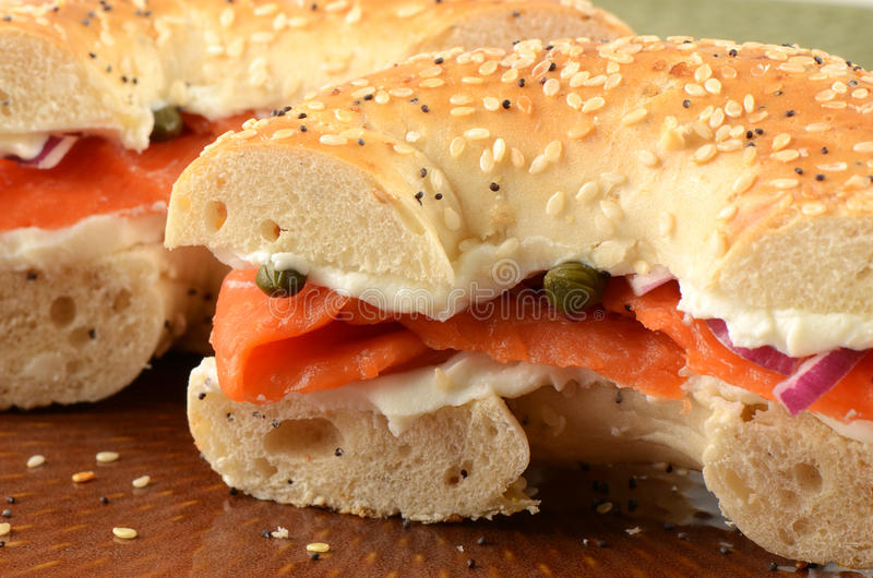 Smoked Salmon On Bagel Stock Images