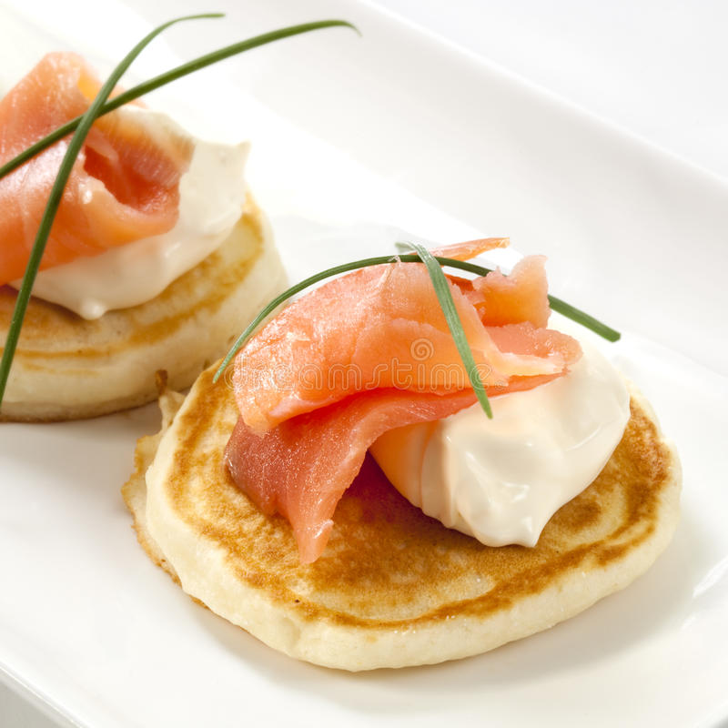 Download Smoked Salmon Blini stock photo. Image of fraiche, chives - 19251972